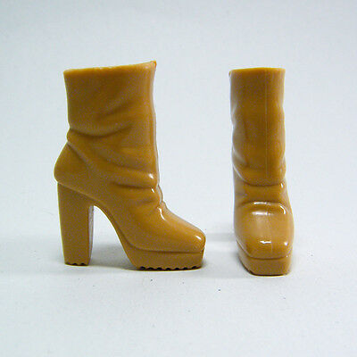 Barbie Shoes - Caramel Tan Ankle Boots, Square Toes, Heels, Ridged Soles