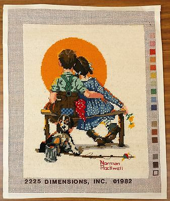Completed Needlepoint Norman Rockwell Spooners 14 x 11