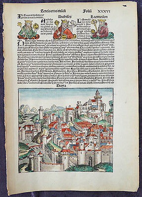 1493 City Of Troy, Hartman Schedel, Incunable, Inkunabel, Bible, Trojan War