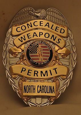 Concealed Carry Permit Badge North Carolina Silver color