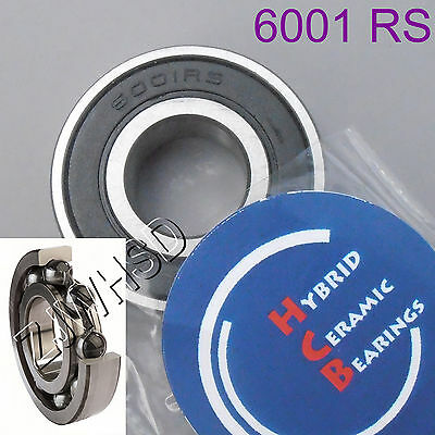 6001 2RS Si3N4 Hybrid Ceramic Ball Bearing Rubber Sealed 12 x 28 x 8mm