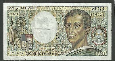 FRANCE $200 FRANCS P.155c (VF) FROM 1989.
