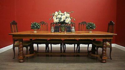 Grand and Impressive Antique French Oak Dining Table with Spiral Legs - 2 Leaves