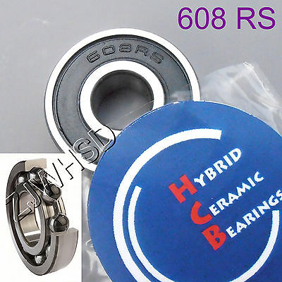 608 2RS Si3N4 Hybrid Ceramic Ball Bearing Rubber Sealed 8 x 22 x 7mm