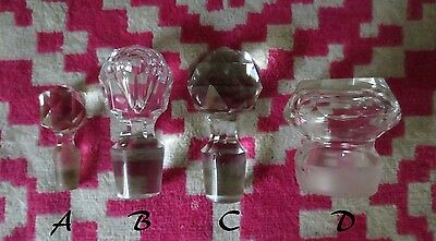 Vintage Replacement Glass Crystal Lids Bottle Stopper for Decanters etc.