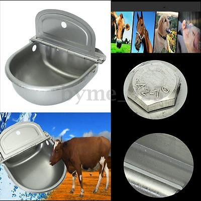 Stainless Water Bowl Trough Auto Filling Drinking Float Equine Cattle Dog 4L