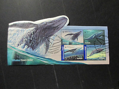 2--  2006  Whales   Down  Under  --Mini  Sheet  Used  Ist Day  Cancellation --A1