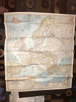 VINTAGE EUROPE LARGE WALL MAP National Geographic June 1957