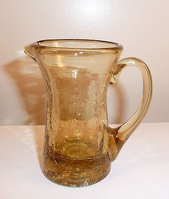 Amber CRACKLE GLASS Mini Pitcher w. Wide Spout 1980s Hand Blown