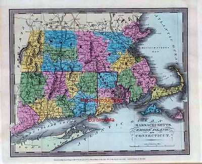 1835 DAVID BURR old map atlas poster Massachusetts Rhode Island Connecticut 38
