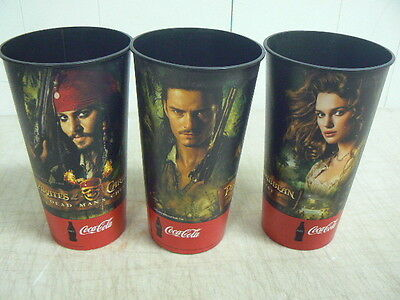 3 Coca-Cola Disney's Pirates of the Caribbean Promotional Collector's Cups, 2006