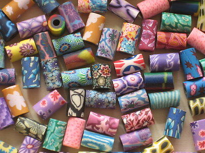 100 Mixed POLYMER FIMO CLAY TUBE BEADS * 6 mm x 11 mm