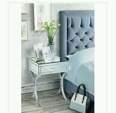mirrored mirror bedside table