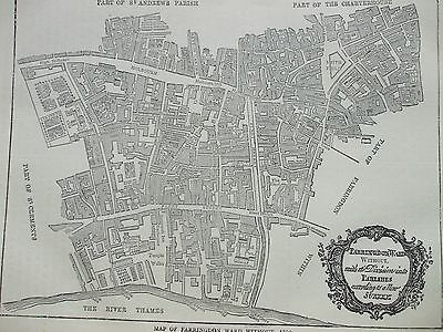 Antique Print C1875 Map Of Farringdon Ward With 1750 Engraving London Old & New