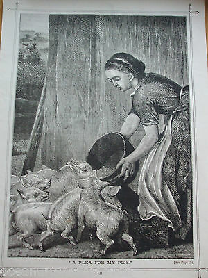 Antique Print Dated 1888 A Plea For My Pigs Home Words For Heart & Hearth