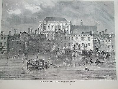 Antique Print C1875 Old Whitehall Palace From The River Engraving London Old