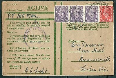 Gb 1943 Active Service Airmail Censored Cover, Egypt To London -Cag 210117