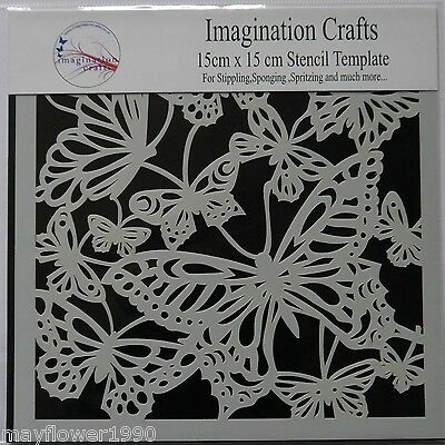 """Imagination Crafts MASK Stencil template 6"""" x 6"""" (15cm) BUTTERFLY DELIGHT"""