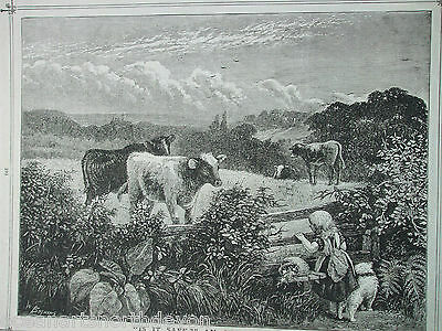 Antique Print Dated 1888 Farming Cows In Field Children Engraving Vintage Print