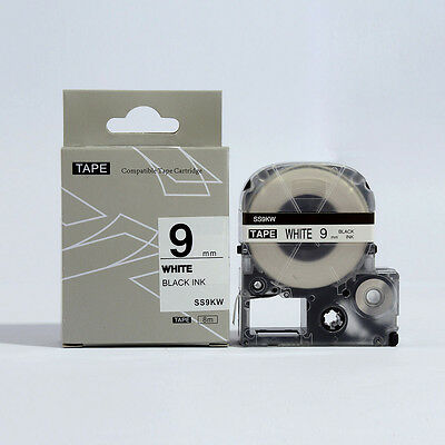 Epson LabelWorks 9mm x 8m Black on White Compatible Label Tape LK-3WBN