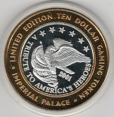 2002 Imperial Palace Vegas EagleTribute to US Heroes .999 Fine Silver $10 Token