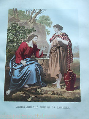 Antique Print C1870's Christ & The Woman Of Samaria Brown's Holy Bible Religion