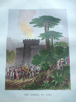 Antique Print C1870's The Signal Of Fire Brown's Holy Bible Religion Colour