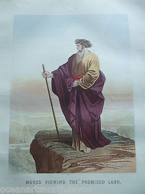 Antique Print C1870's Moses Viewing The Promised Land Holy Bible Religion