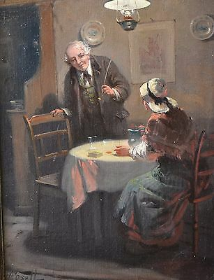 """Original Antique Genre oil painting """"A Welcome Rest"""" Alexander Rosell 1859-1922"""