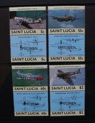 ST Lucia 1985 Leaders of the World Aircraft. Set of 8. SPECIMEN. MNH. SG812/819.