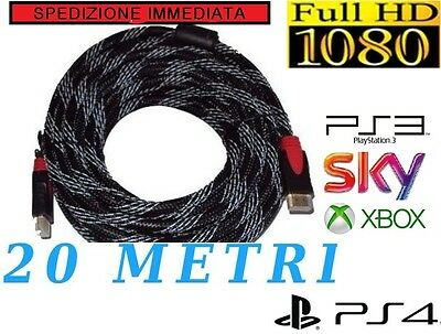 Cavo Hdmi 20 Metri Mt Tv Video Full Hd Video 1080P Ps4 Xbox Sky Dorati 19 Pin