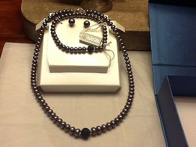 New freshwater pearls set Honora :necklace 18inch,earrings,bracelet-color purple
