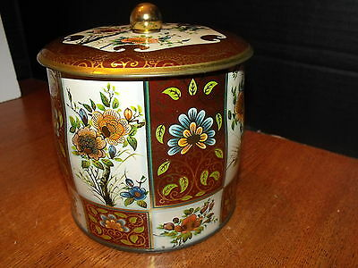 Vintage Daher Cookie Red Rose Tin Container Made In England