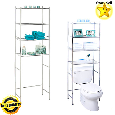 Bathroom Tower Shelf 4 Tier Rack Over The Toilet Storage Organizer ...