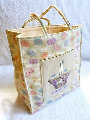 Longaberger Small Fabric Easter Bunny In Basket of Eggs Tote Gift Bag