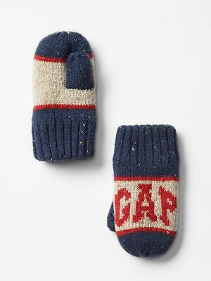 Gap Toddler Boys Winter Gloves Mittens Statement Blue Oatmeal Logo Contrast New