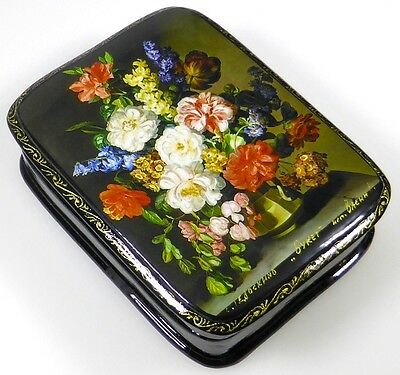 """""""Bouquet - Букет"""" Russian lacquer box, Russische Lackdose Fedoskino"""