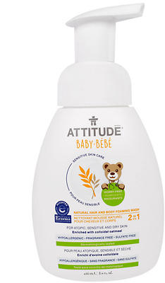 New Attitude Sensitive Skin Care Baby 2-In-1 Natural Foaming Wash Fragrance Free