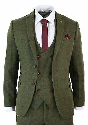 Mens 3 Piece Herringbone Tweed Olive Green Wine Check Suit Tailored Fit Double
