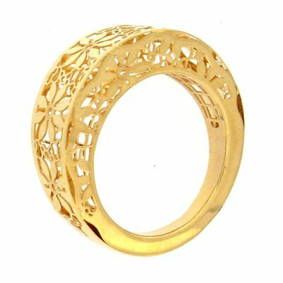 Ring with Cutouts & Open Flower Design 14kt Yellow Gold
