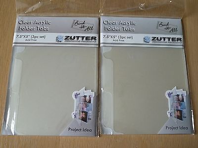 """Zutter Bind-It-All Clear Acrylic Folder Tabs, 7.5"""" x 5"""",  2 packs of 3 pieces"""