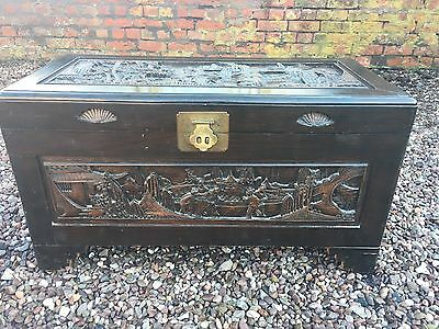 Camphor Wood Chest Decorated with Figures