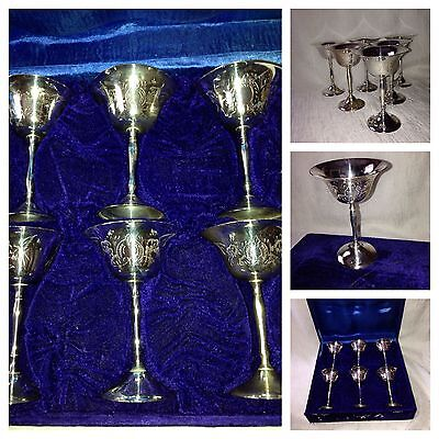 Beautiful Vintage Silver Plated Epns Goblets Set Of 6  With Orginal Box