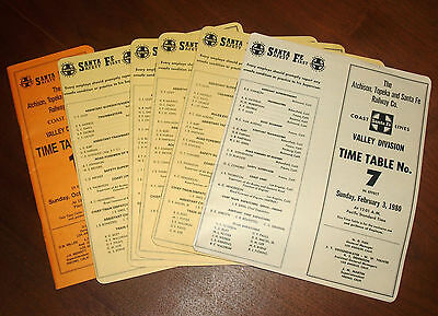 Vintage Group Lot Rr Employee Timetable Atchison Topeka & Santa Fe Valley Div