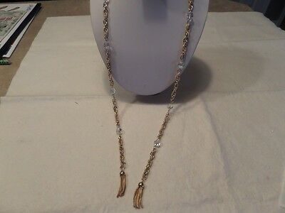 Vintage Gold Tone and Faceted Crystal Tassel Lariat Necklace