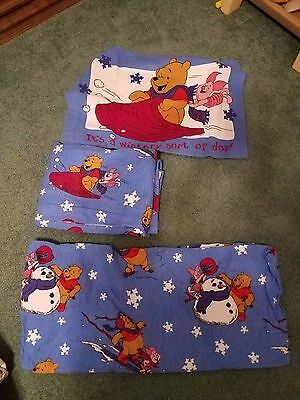 Vintage Disney Winnie The Pooh Flannel Twin Sheet Set Piglet Wintery Sort of Day