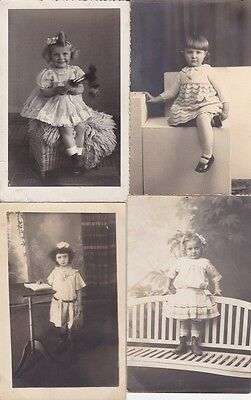 Lot Of Four Antique Real Photo Postcards, Little Girls, Children, Social History
