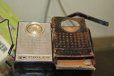 Vintage Philco Transistor Radio with Leather Case