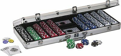 11.5 Gram Texas Hold 'em Poker Chip Set with 500 Striped Dice Chips Casino Style
