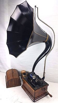Antique Edison Fireside Gramophone Phonograph Cygnet Horn Cylinder Record Player
